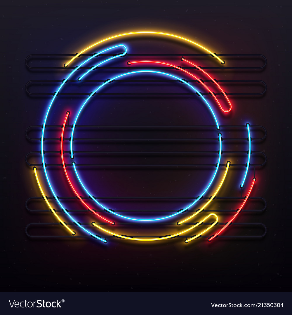 Circle neon lights frame colorful round tube lamp