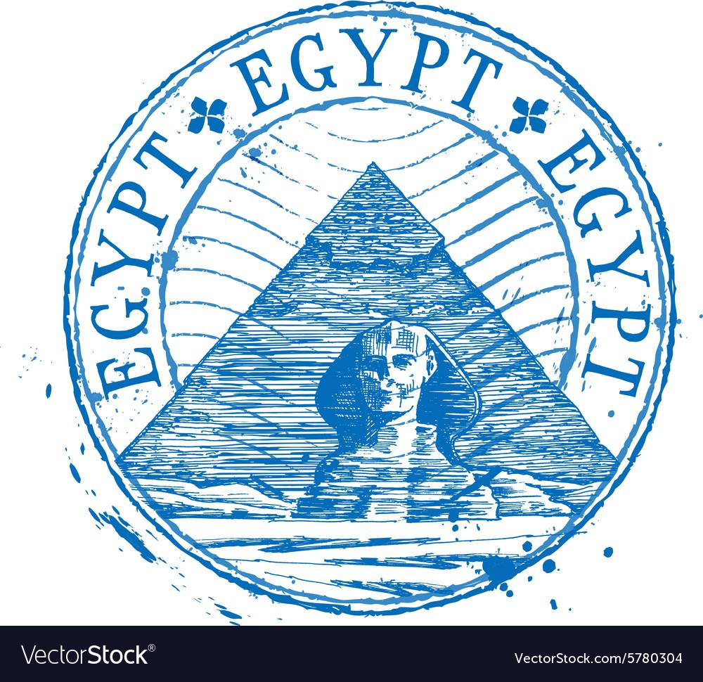 Egypt logo design template Shabby stamp or