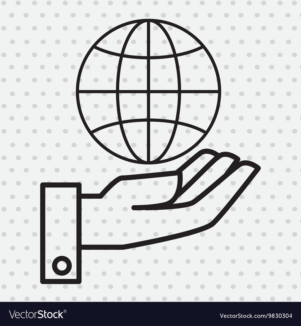 Hand and world connection isolated icon design