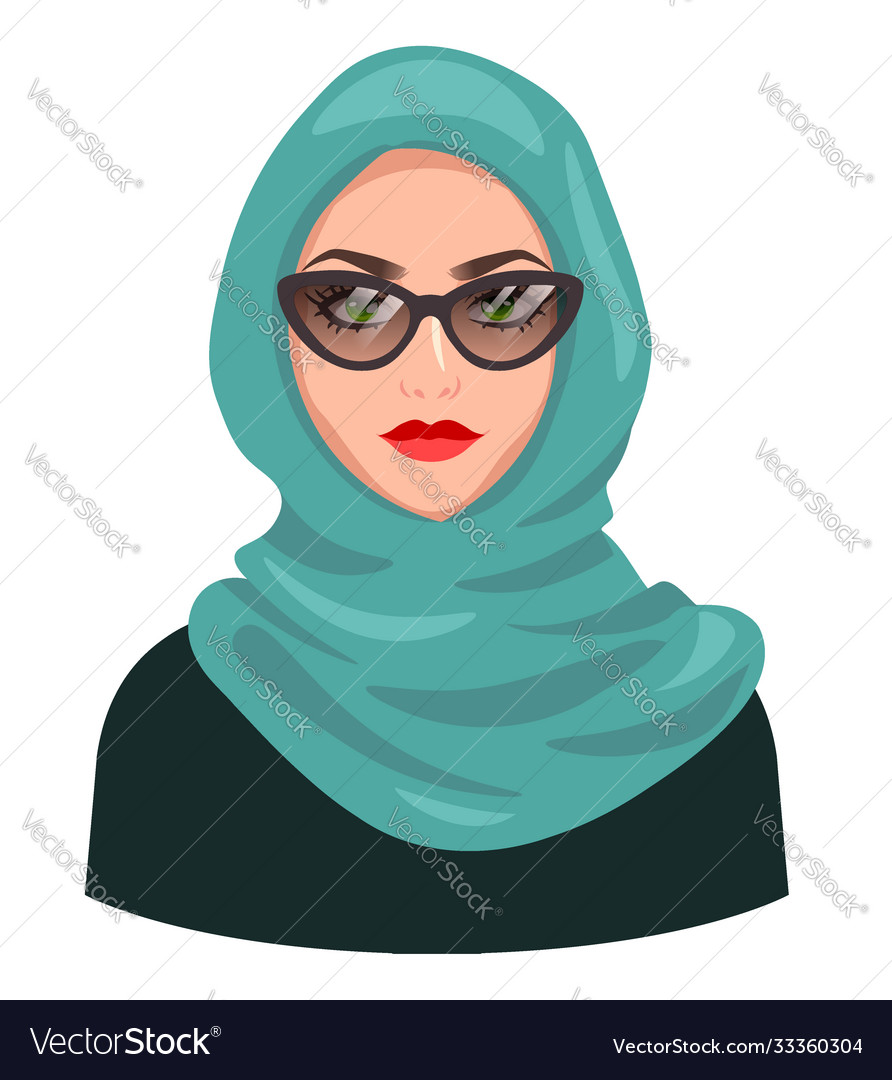 Muslim woman avatar isolated on white young