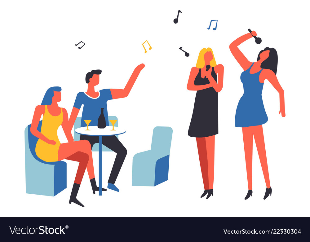 Party people drinking and singing song isolated