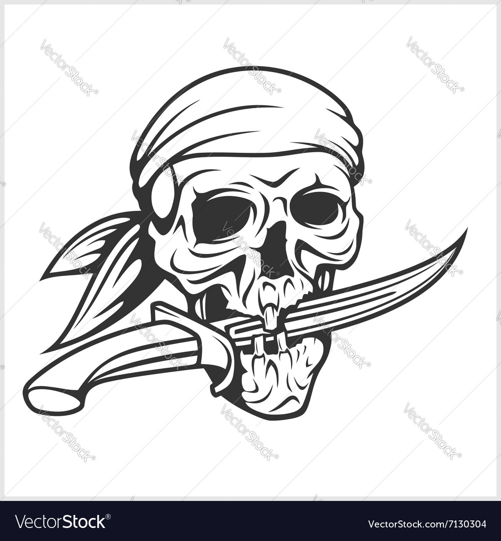 Pirate Skull in Headband with Sword vector image
