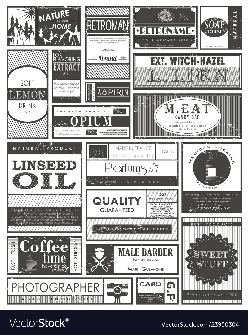 Set of retro or vintage labels or tags stickers