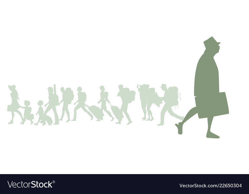 Silhouette of senior traveler man with hat