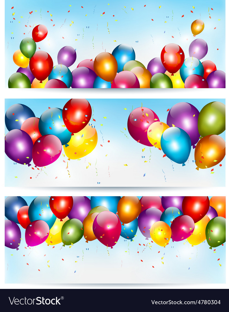 Three holiday banners with colorful balloons