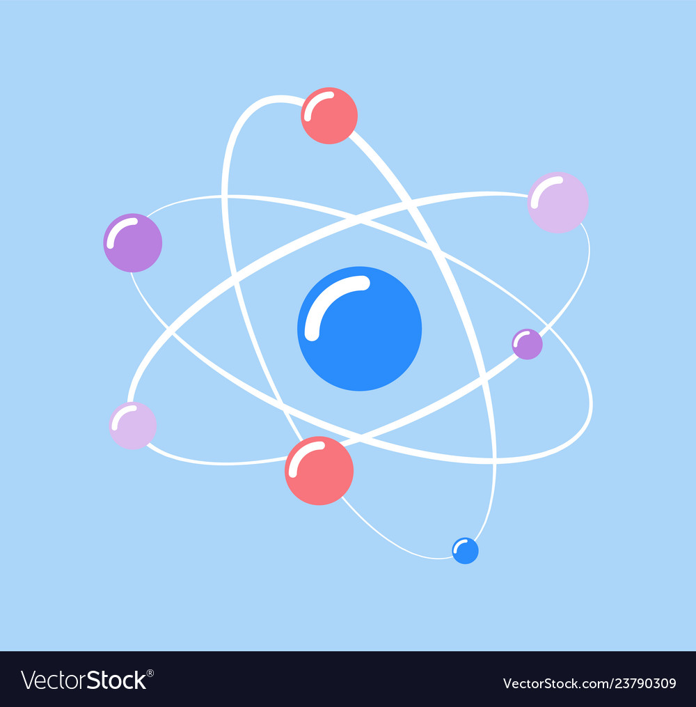Atom and small particles isolated icon of chemical