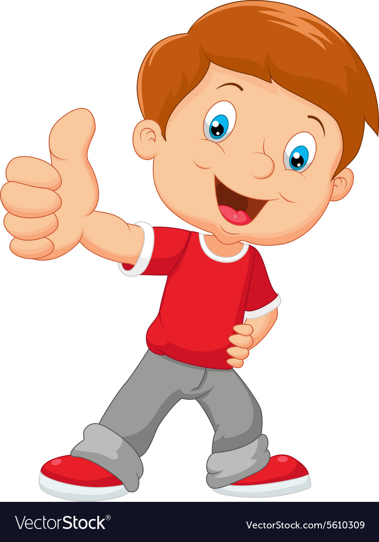 cartoon little boy giving thumb up royalty free vector image rh vectorstock com little boy cartoon drawing little boy cartoon characters