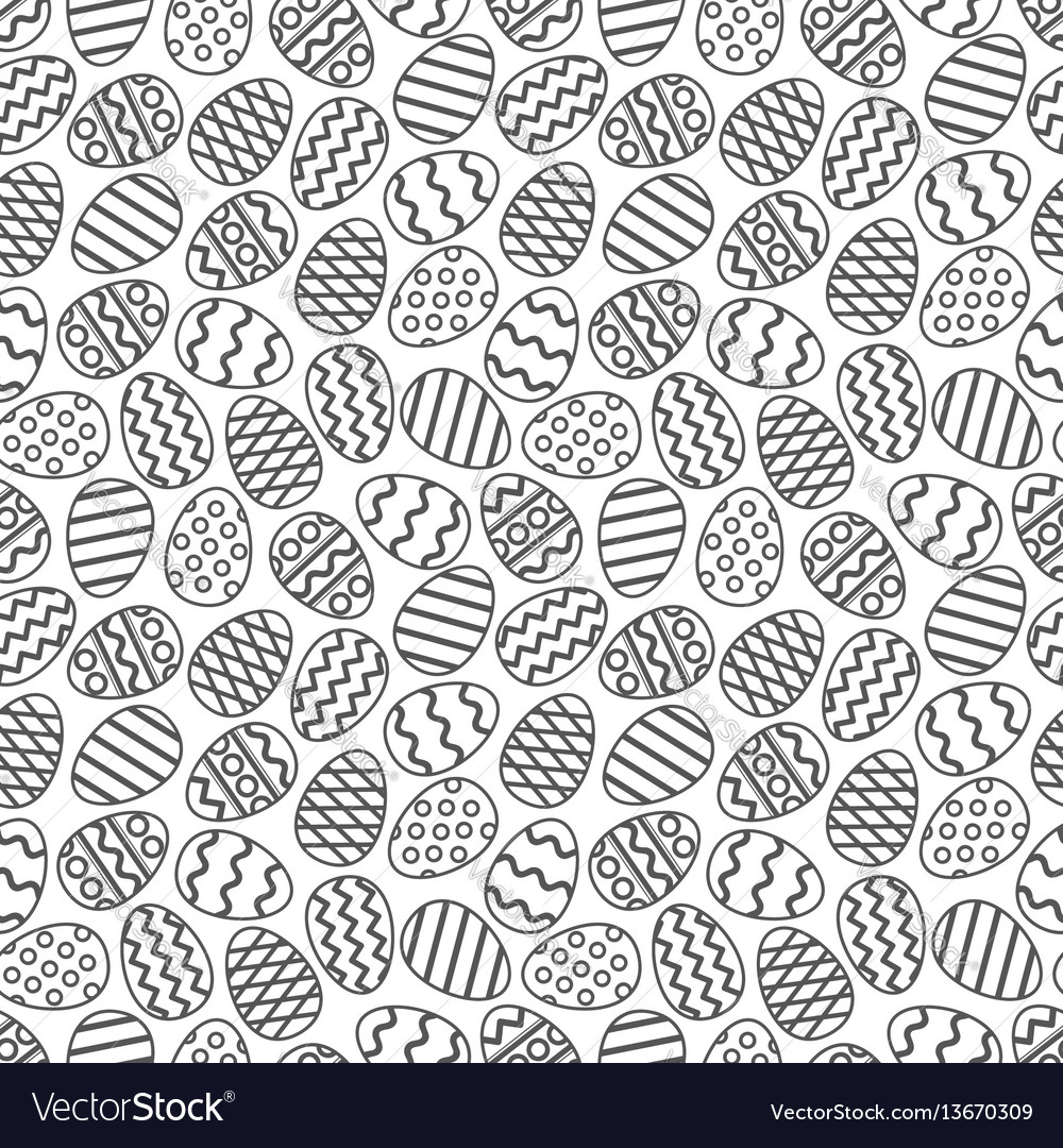 Easter eggs gray seamless pattern