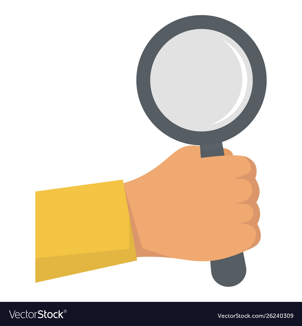 Hand magnify glass icon flat style