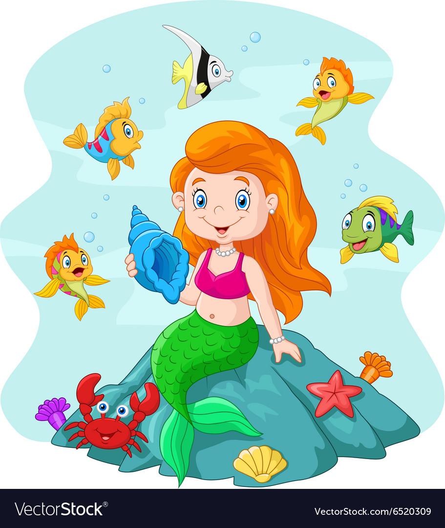 Happy little mermaid holding seashell the rock