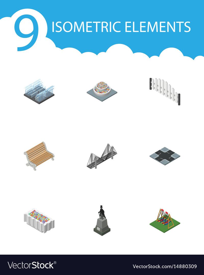 Isometric city set of fountain barricade bridge vector image