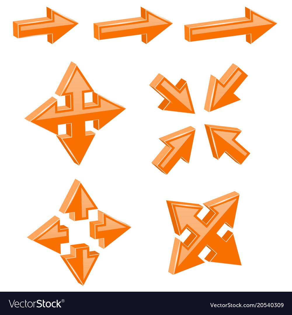 Orange 3d combo arrows different directions