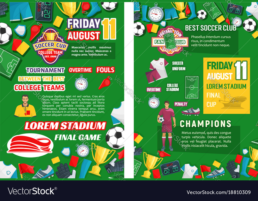 posters for soccer club game royalty free vector image