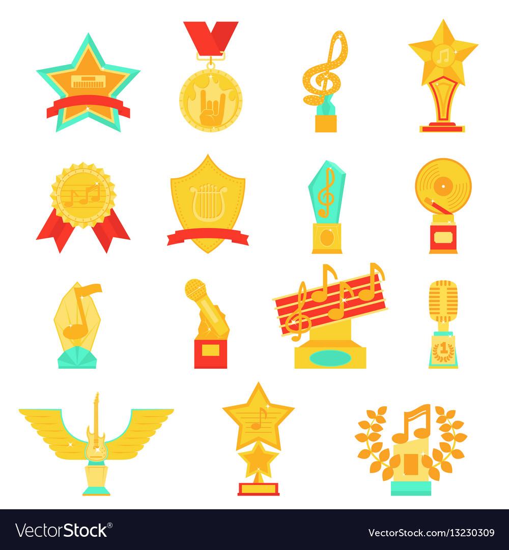 Trophy awards icons set flat