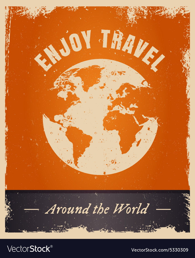 Vintage grunge travelling logo template with earth