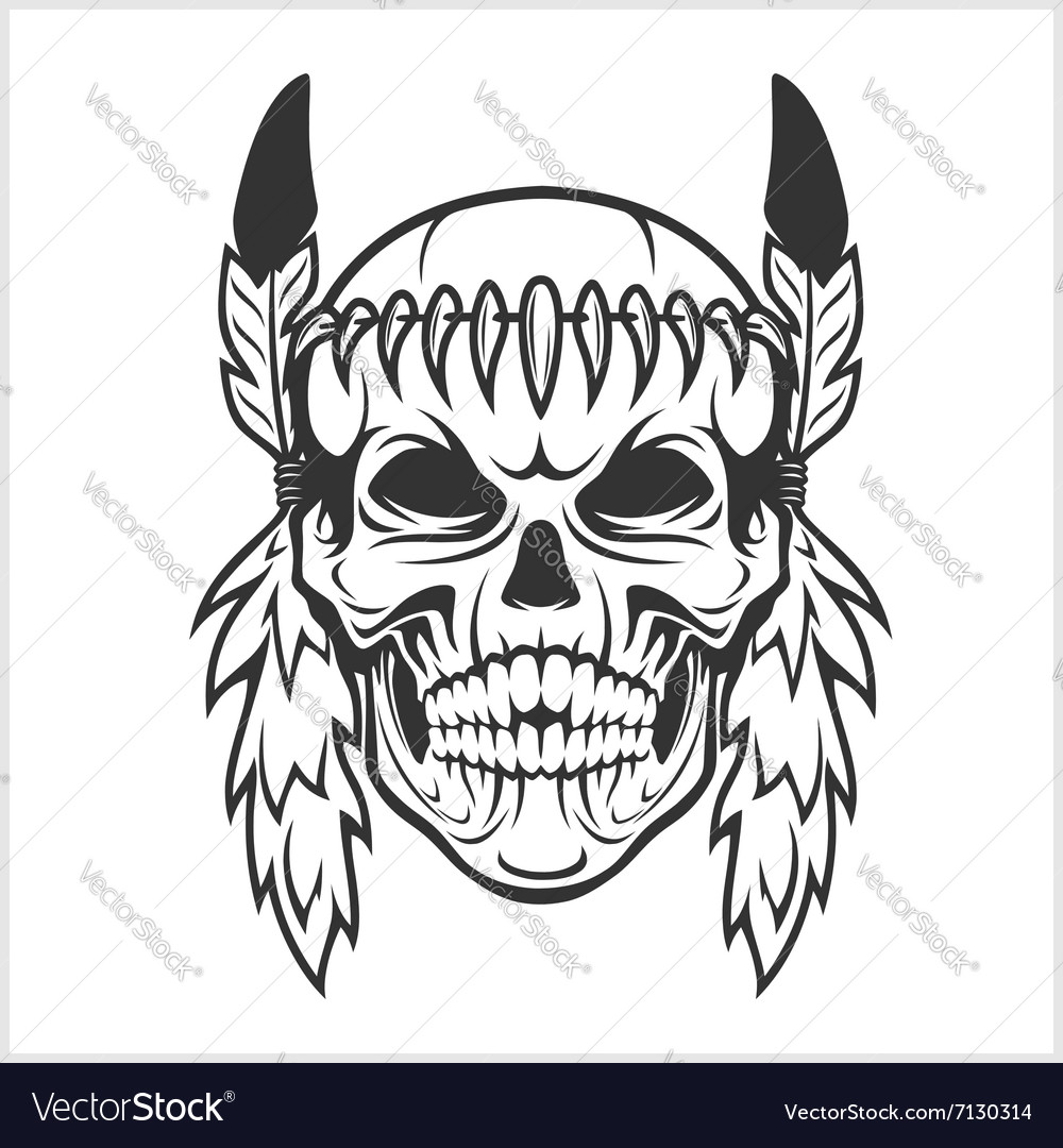 American Indian Chief Skull vector image