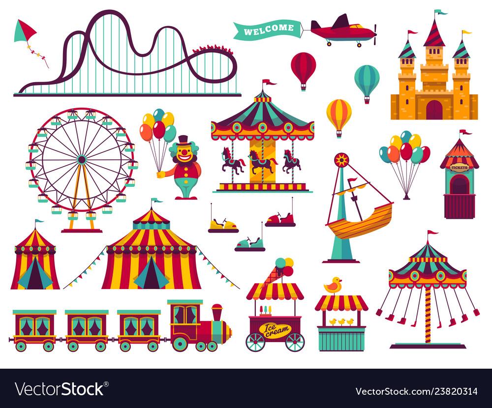 Amusement park attractions set carnival amuse