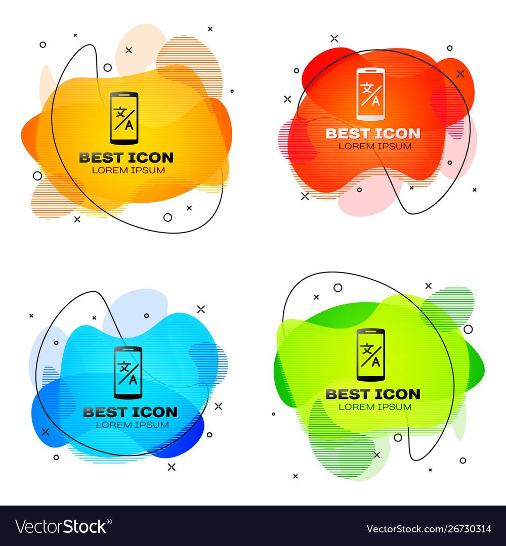 Black online translator icon isolated on white