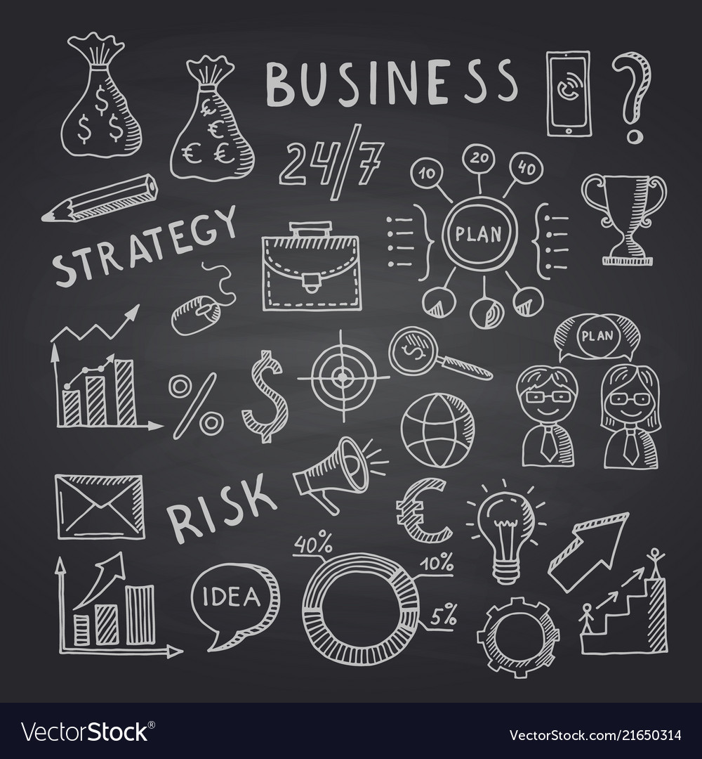 Business doodle icons on black chalkboard