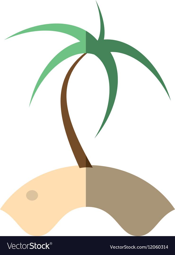 Cartoon palm sand tropical beach shadow