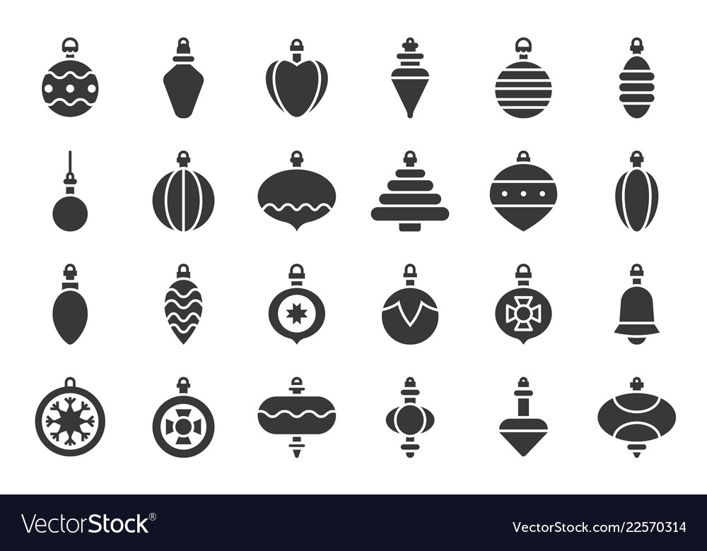 Christmas ball ornaments icon set 2 solid design