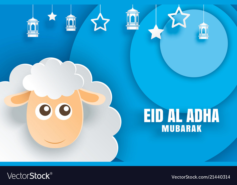 Eid al adha mubarak celebration card with sheep
