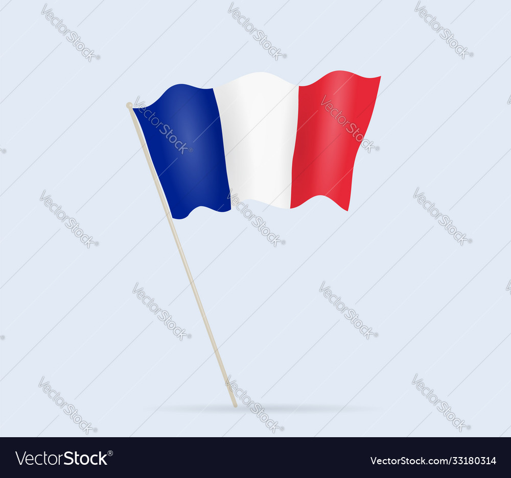 France flag on flagpole waving in wind