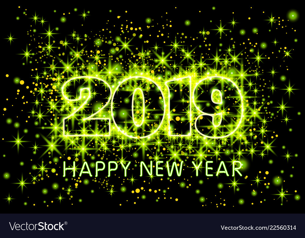 Gold neon green typography happy new year 2019 in
