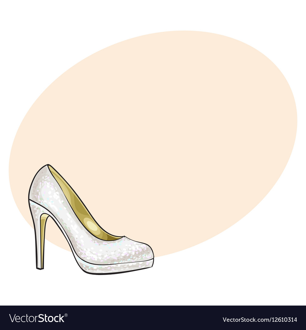 High heeled glittering elegant white colored