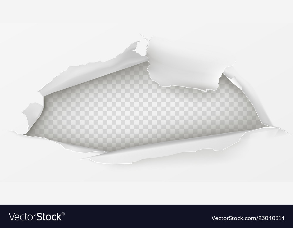 Hole in white paper sheet 3d realistic