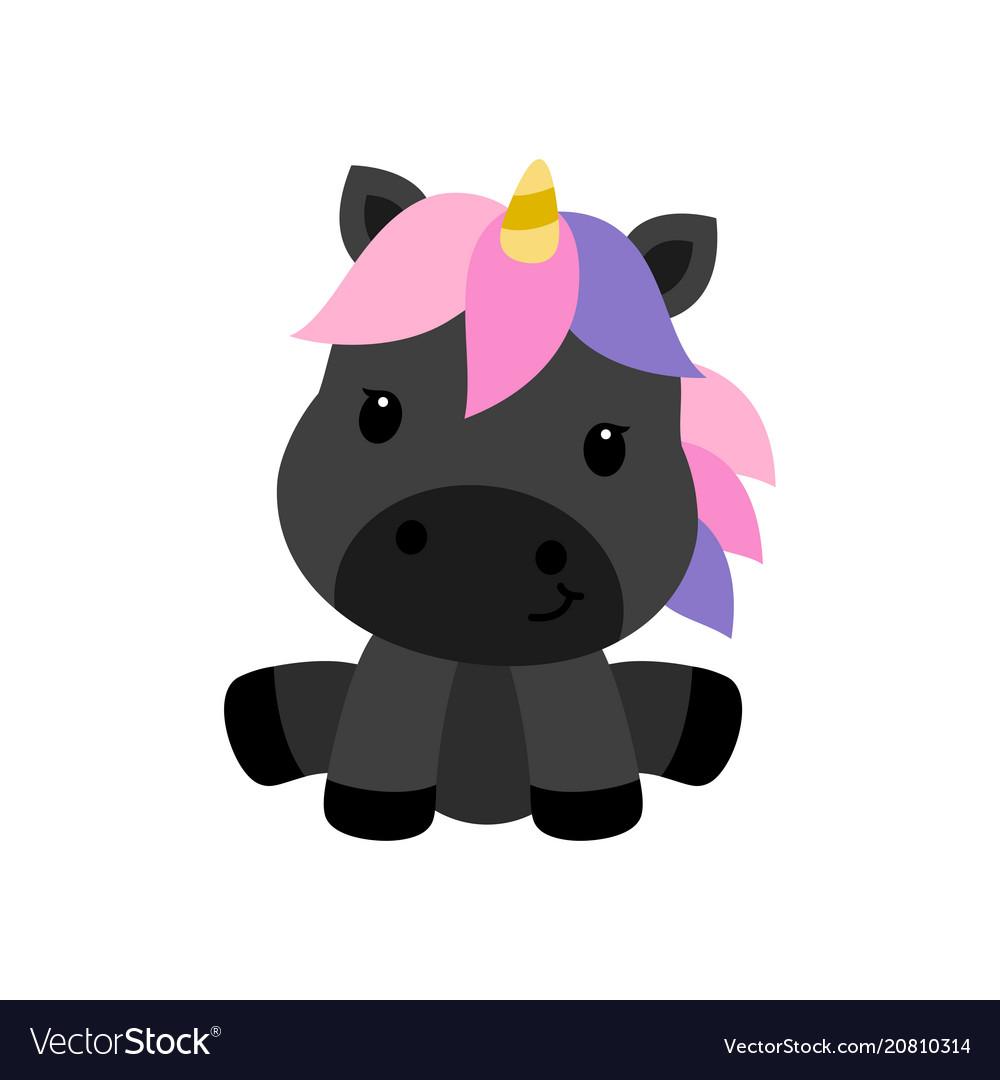 Little black unicorn isolated on white background