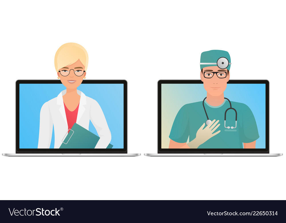 Male and female doctor with online medical