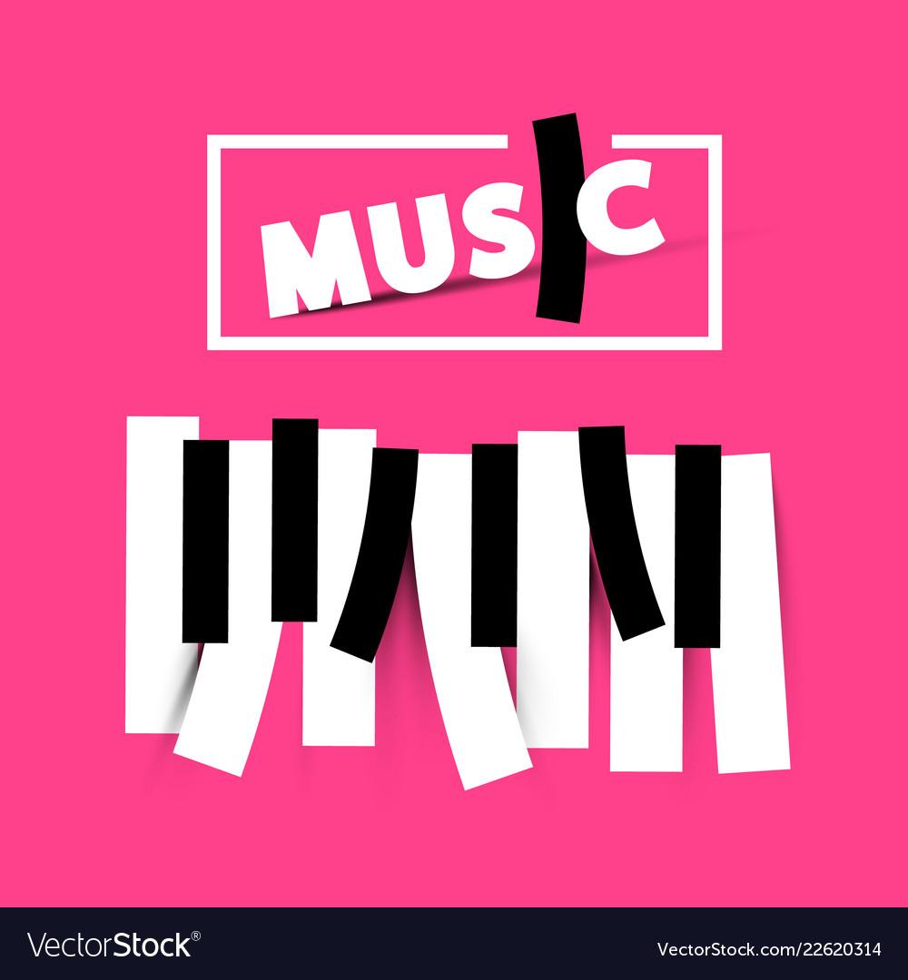 Music symbol on pink background