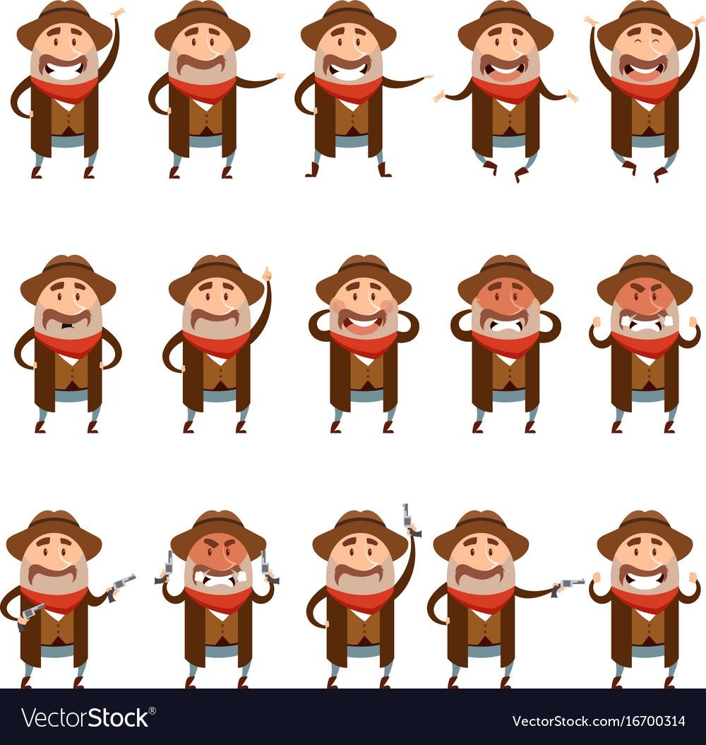 Set of flat cowboy icons
