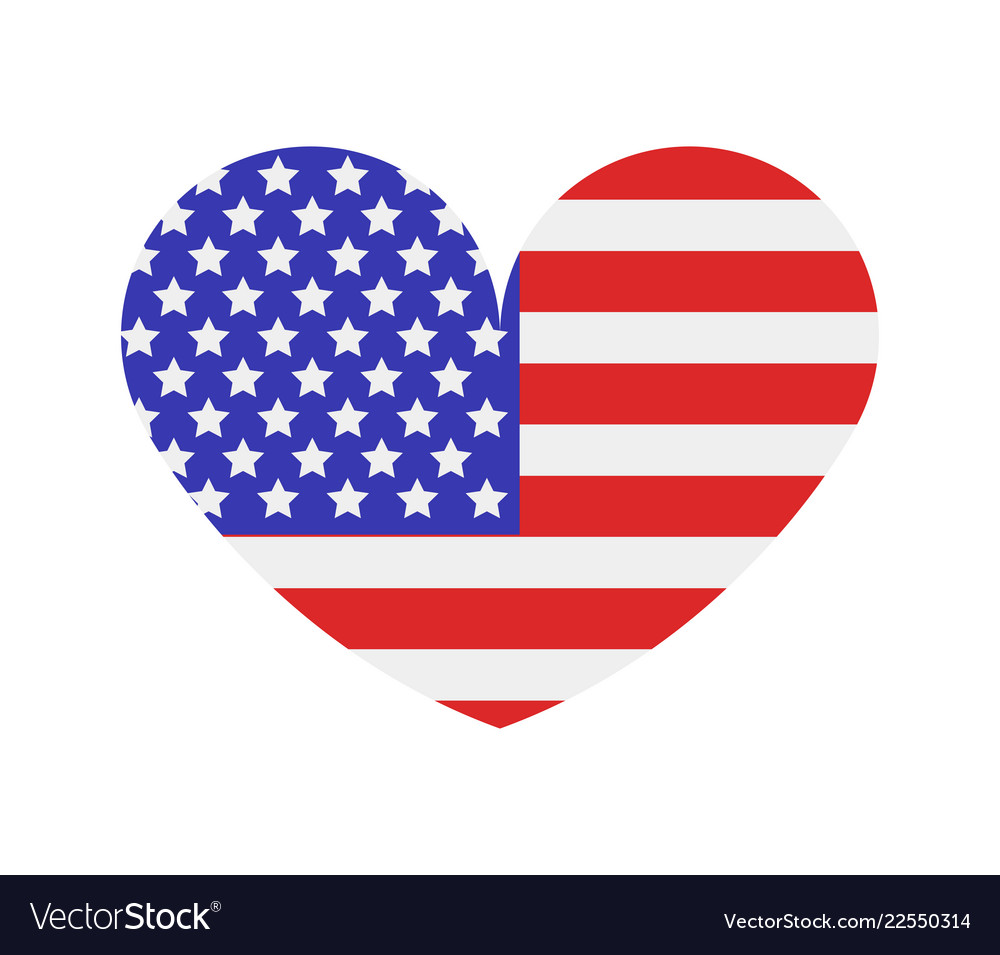 United states flag with heart