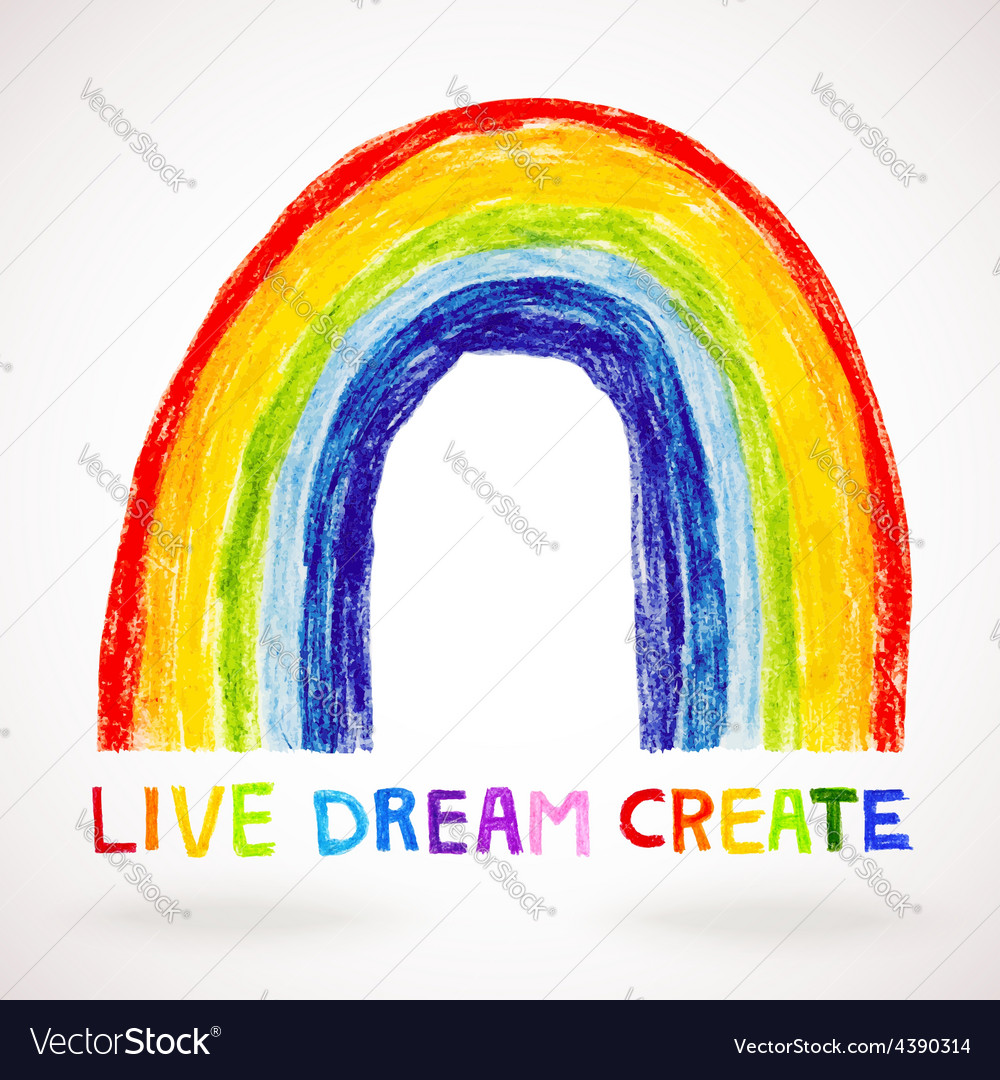 Watercolor rainbow hand drawn with color pencils vector image