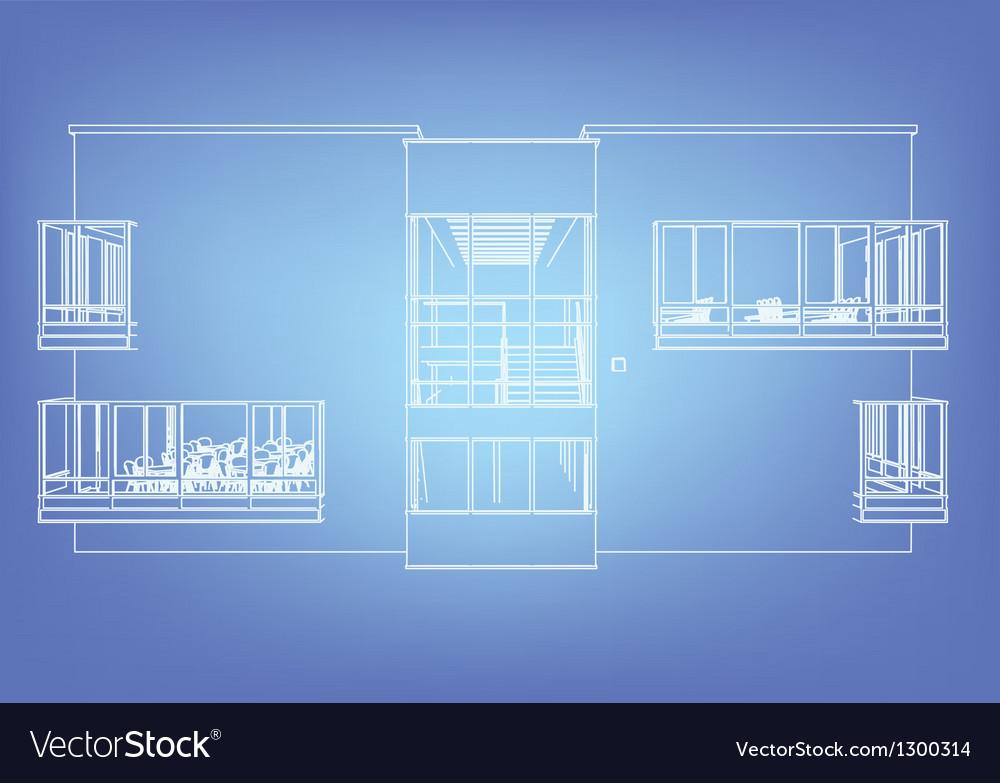 Wireframe building over blueprint