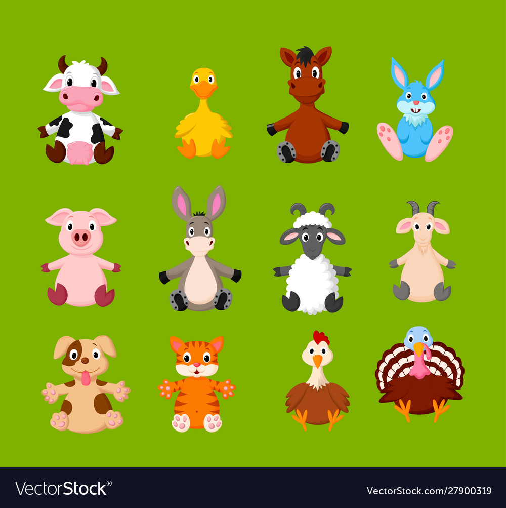 Cartoon set cute farm animals