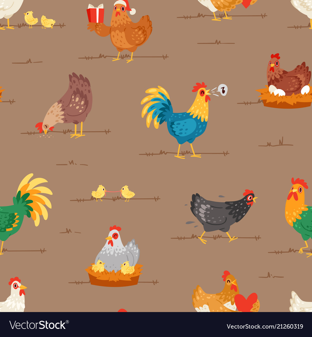 Chicken cartoon chick character hen and