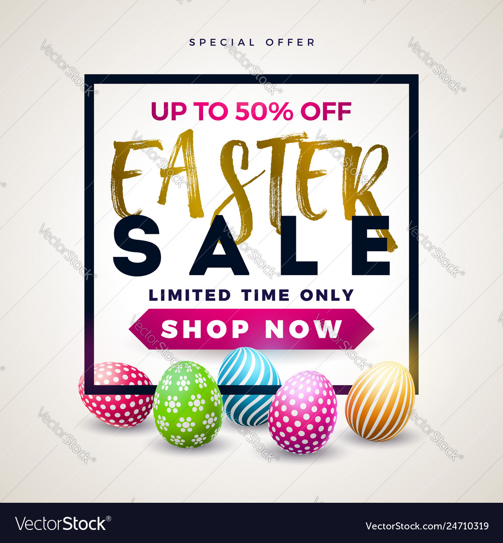 Easter sale with color painted egg on