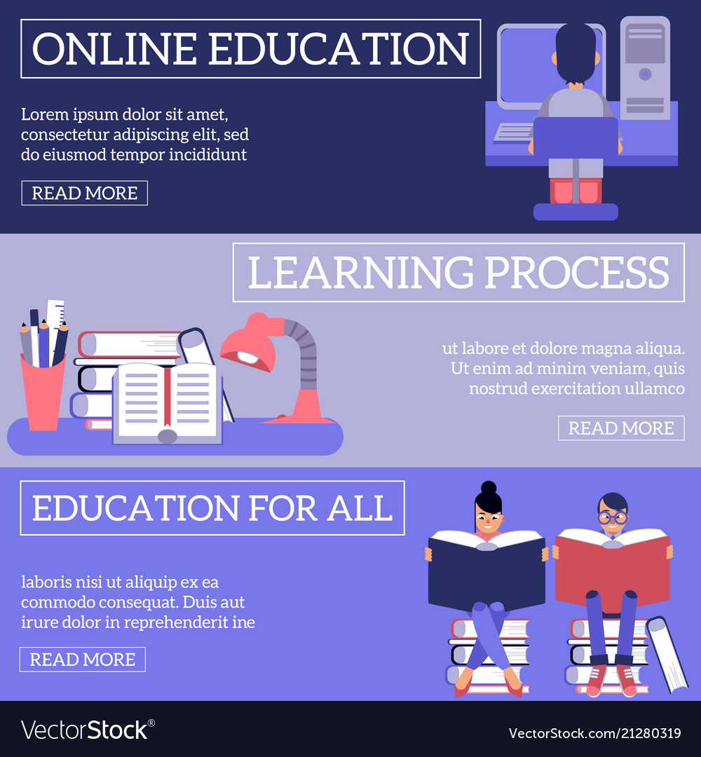 Education and learning process horizontal banners