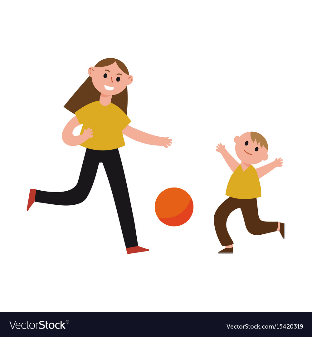 Happy mother playing ball with her son cartoon