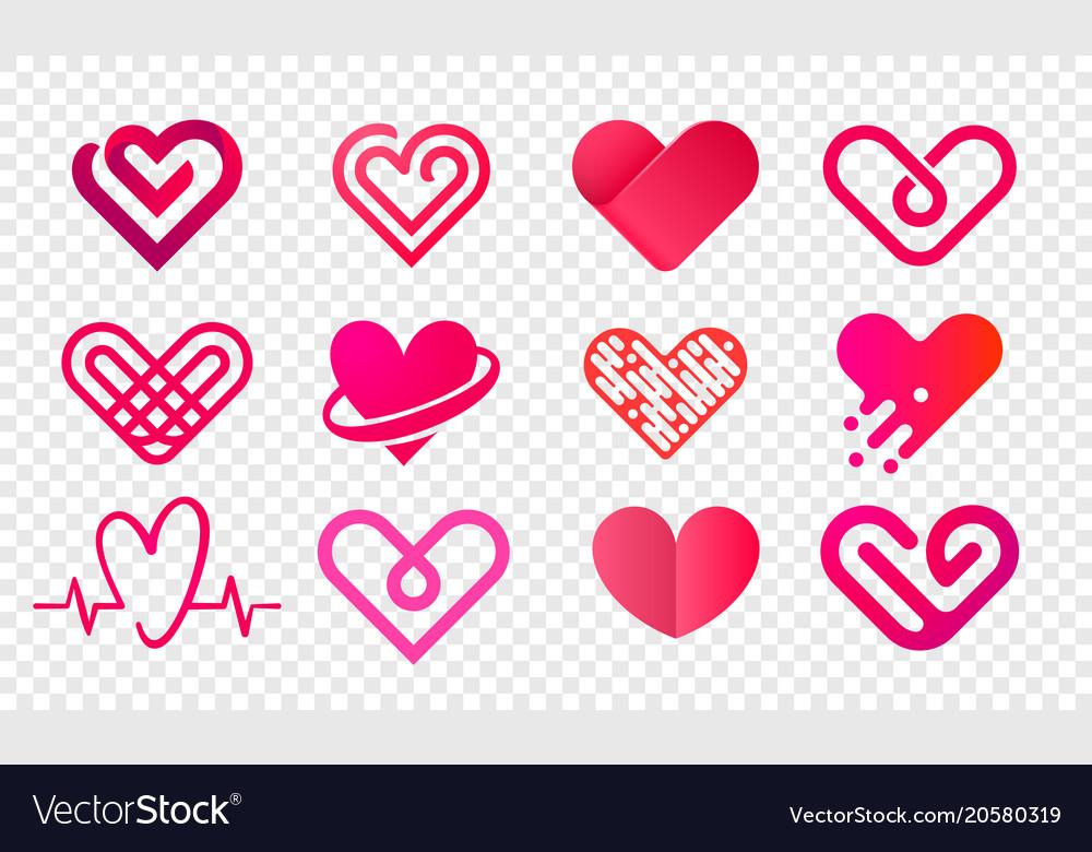 Heart logo abstract creative icons set