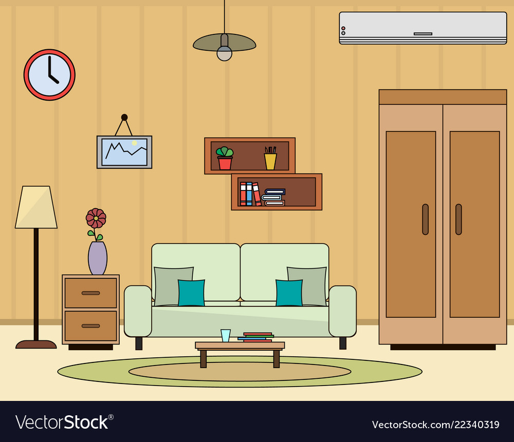 Living room interior flat