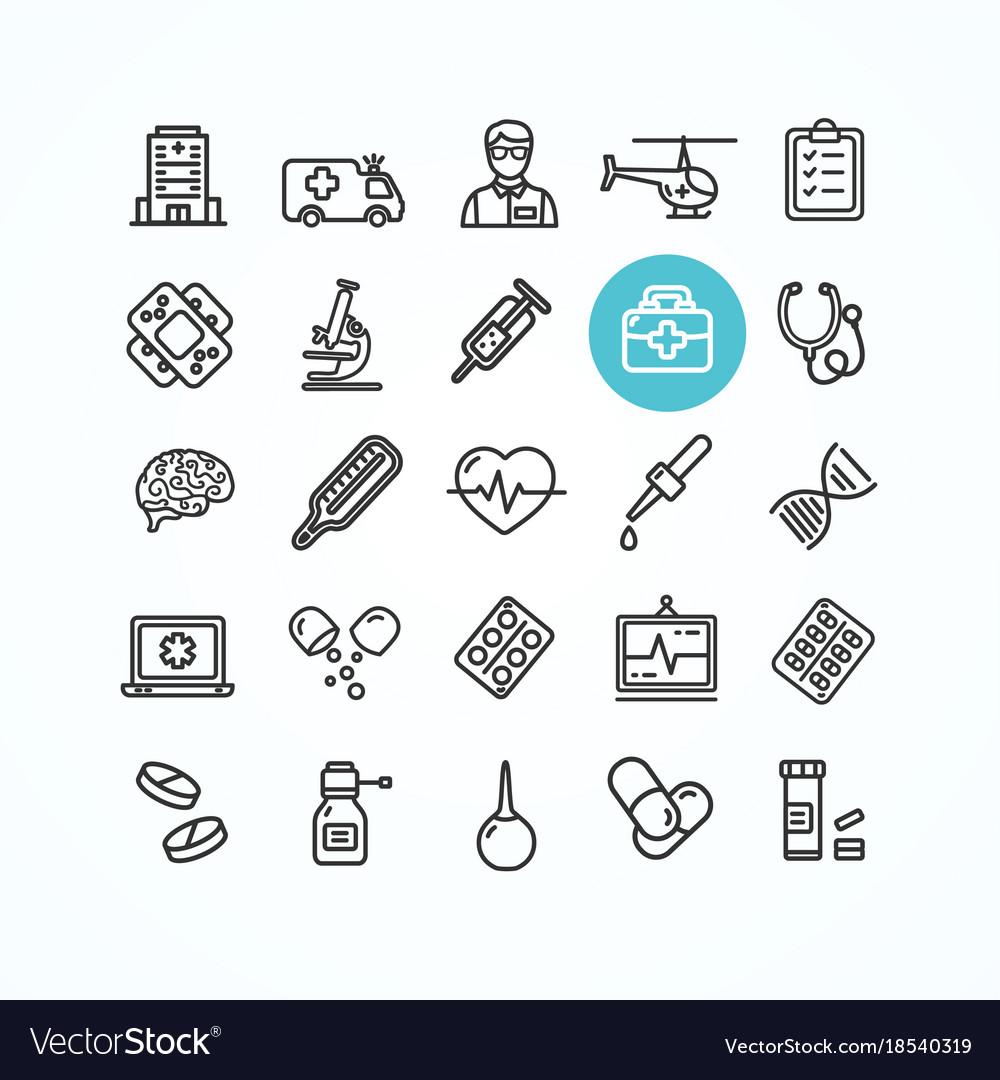 Medicine symbols and signs black thin line icon