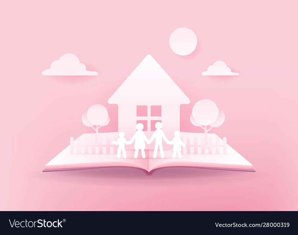 Open book happy family house and family paper