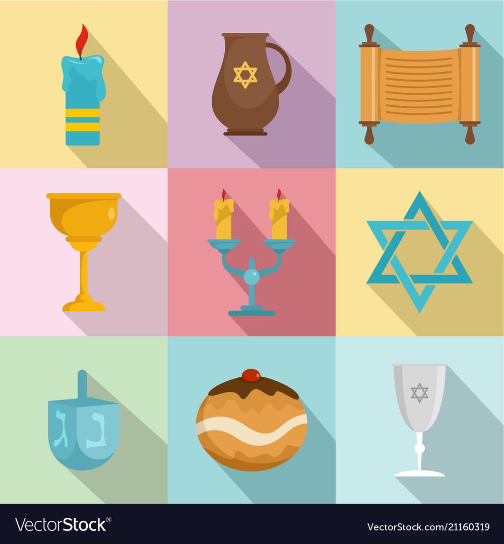 Religious dish icons set flat style