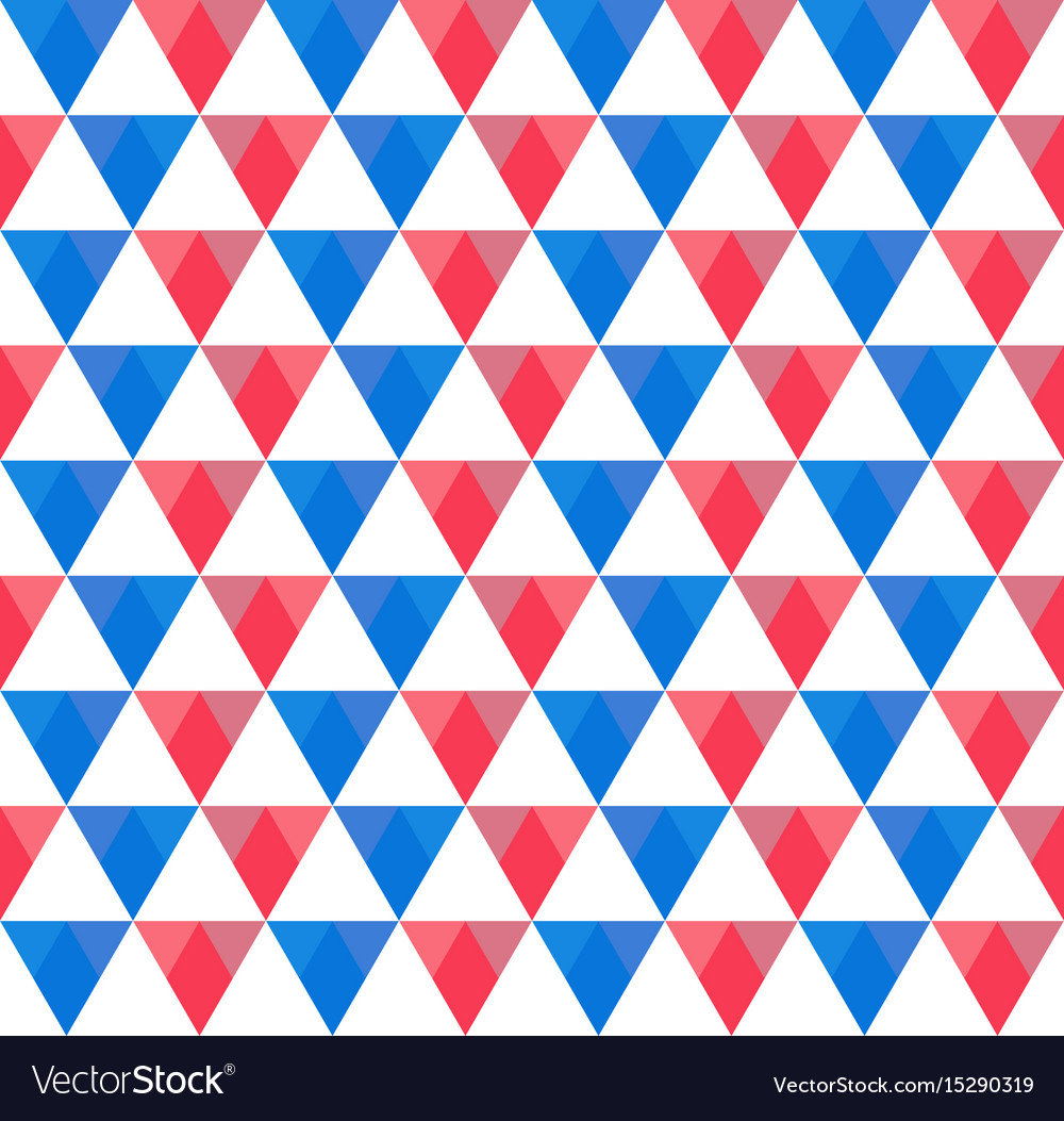Seamless pattern of blue red and white triangles