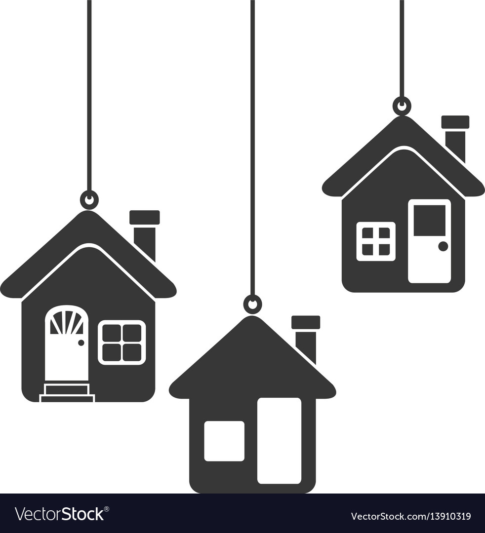 Silhouette set collection hanging houses