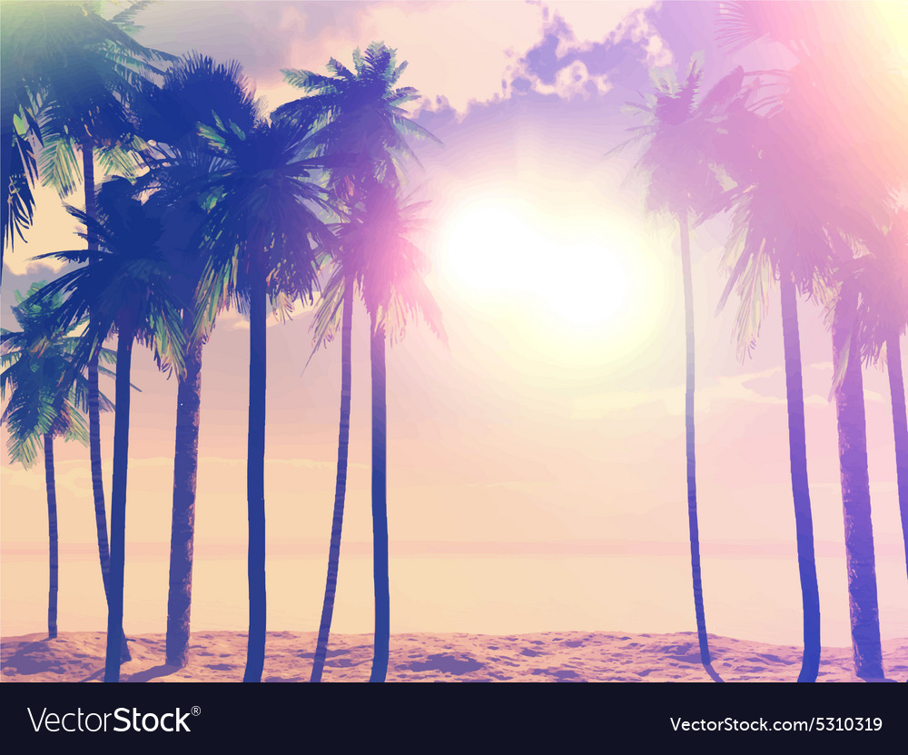 Summer retro palm trees 1405 vector image